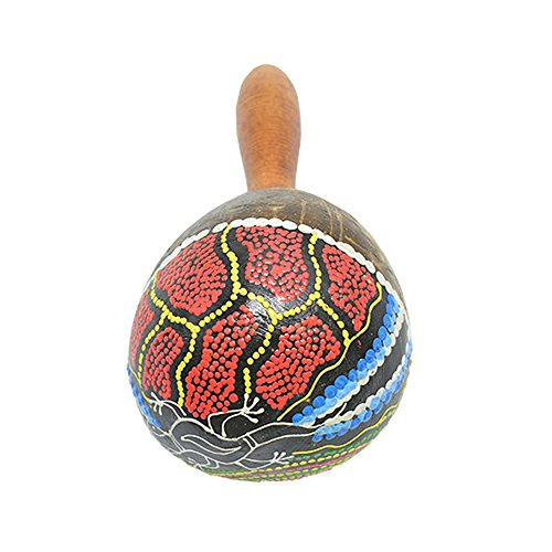 M Y Fly Young Hand Painted Maracas Rattle Shaker Percussion Instrument Made of Coconut Shell with Wooden Handle