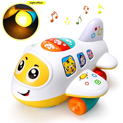 HOMOFY Electronic Airplane Baby Toys Bump and Go with Lights & Music Early Learning Educational Kids Toddlers Toys for Boys and Girls 1 2 3 4 5 Years Old Gifts (Airplane Toys)