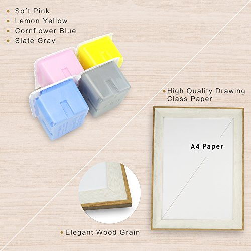 DIY Hand & Footprint Maker Set with A4 Big Picture Frames Suitable for Both Adult and Baby/Children Hands, Watercolor Paint, Blank Paper, Grosgrain Riddon, A Sweet and Messy Free Family Gift