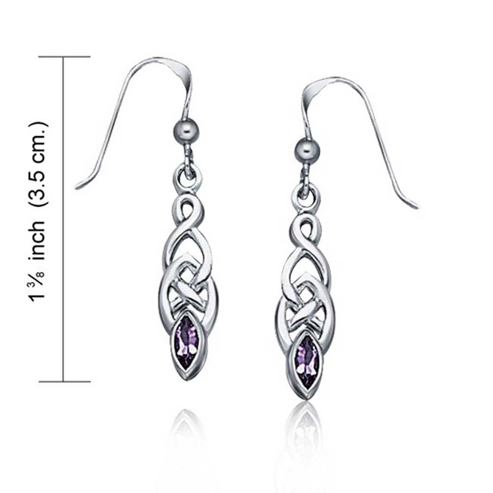 Amethyst Celtic Irish Love Knot Work Purple Marquise Bezel Set Fish Hook Dangle Earrings For Women 925 Sterling Silver