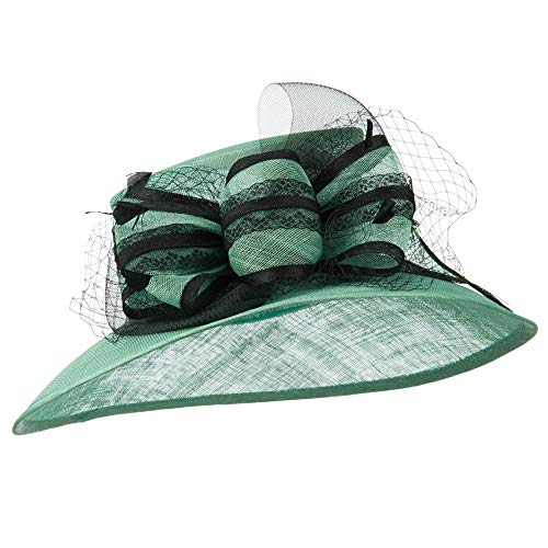 - Ribbon and Lace Sinamay Hat - Mint OSFM