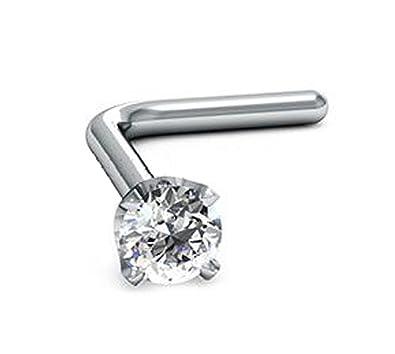 46b64a826 2.0mm Round-Cut-Diamond and 18K White Gold L-Shaped Nose Pin/ Stud (7.0mm  |22G): Amazon.co.uk: Jewellery
