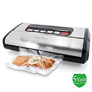Kiartten Vacuum Sealer, A Fresh Food Locker for Your Kitchen. Keeps Food Fresh Up To 5X Longer. (Stainless Steel)