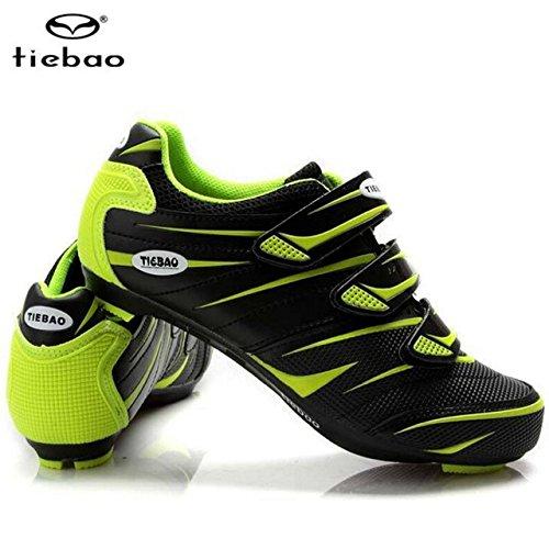 くしゃみ団結するクラウンサイクリングシューズロードアスレチックバイク通気性自転車靴green black_8.5_27.0cm