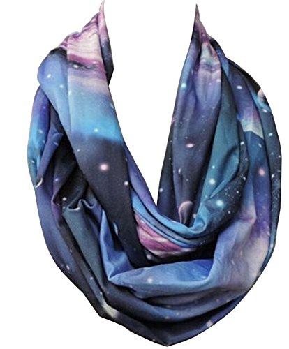 (New Fashion Women Blue Rayon Galaxy Space Print Loop Circle Infinity Scarf)