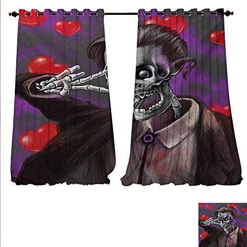 familytaste Decor Curtains by Romantic Skeleton Handsome Corpse Groom with Tuxedo Hearts in The Backdrop Print Patterned Drape for Glass Door W72 x L96 Black and Red.jpg