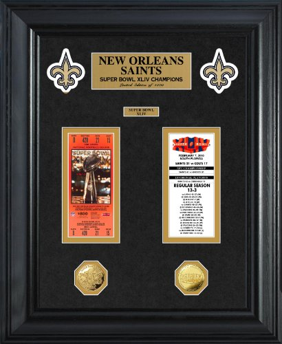 Photomint Framed Coins (NFL New Orleans Saints Super Bowl Ticket and Game Coin Collection Framed, Gold, 32