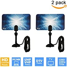 (2 Pack) Uninex Flat HD Digital Indoor TV Antenna 25 Miles Range UHF/VHF PC 1080p 1080i 720p HDTV DTV Box Ready High Gain