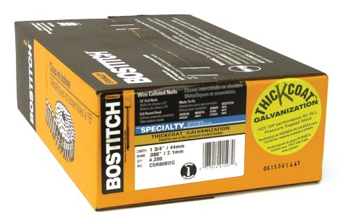 Bostitch C5R80BDG Thickcoat 1-3/4-Inch by .080-Inch by 15 Degree Ring Shank Coil Siding Nail (4,200 per Box) Coil Nails Ring Shank
