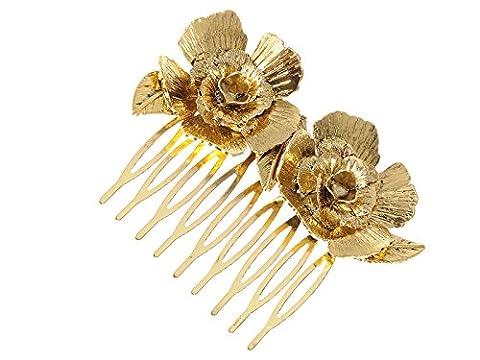 Alilang Golden Tone Metal Vintage Floral Rose Leaf Hair Pin Clip Comb - Enamel Floral Brooch Pin