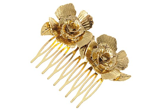 Alilang Golden Tone Metal Vintage Floral Rose Leaf Hair Pin Clip Comb