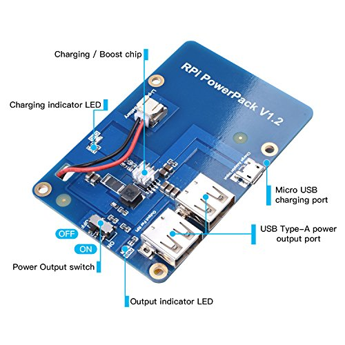 Miuzei Raspberry Pi 3/3 Model B+ Battery Pack Expansion Board, Power Supply with USB Cable, 2 Layer Acrylic Case for Raspberry Pi 3 B+, 3B, 2B by Miuzei (Image #2)