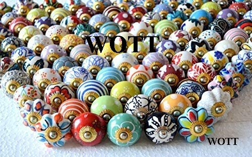 30 Pieces Set of Assorted Multicolor Ceramic Drawers Knobs Door Cabinet Colorful Knobs Furniture Handle Drawer Pulls Wardrobe Pulls Handles (WOTT) (Tennessee Drawer Pulls)