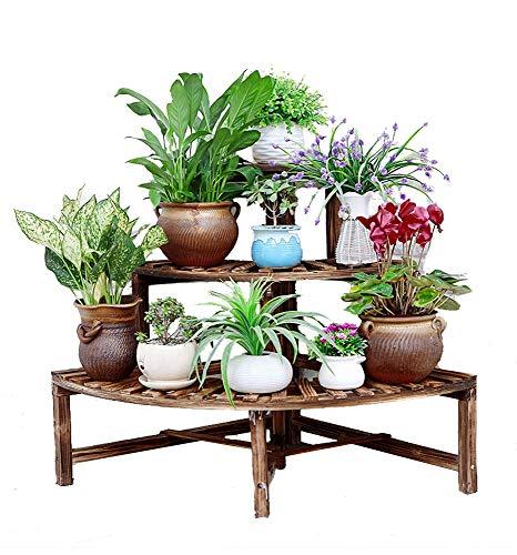 (TongN Corner Flower Stand Multi-Layer Solid Wood Anti-Corrosion Pot Rack Corner Living Room Balcony Floor Garden Wooden Flower Shelf)