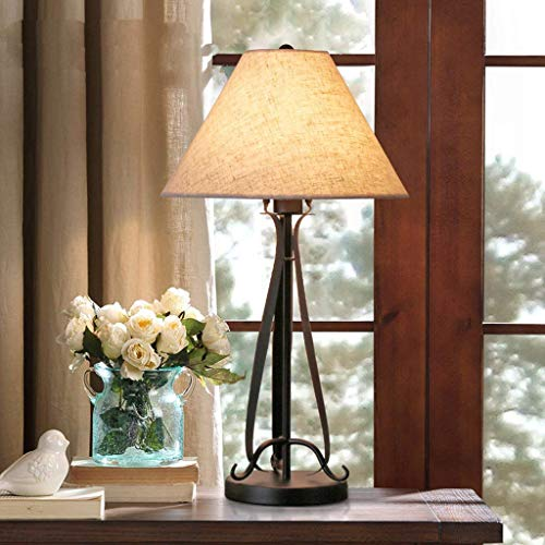 XQY Household Table Lamp, Bedside Lamp,Personality Simple Mediterranean Wrought Iron Table Lamp Modern Minimalist Living Room Study Creative Covers Bedside Lighting E27 or E14 Reading Night Light,Eye