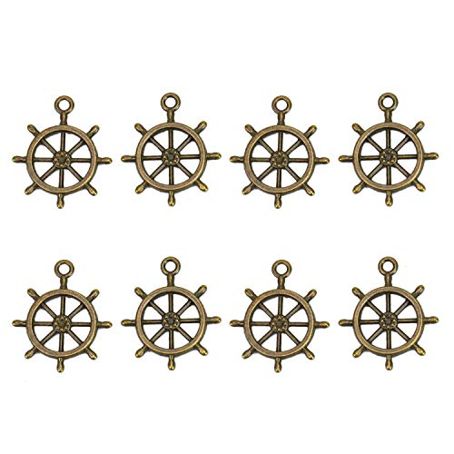 Monrocco 100Pcs Ship Wheel Captain Rudder Charms Findings for DIY Crafting Jewelry Making (24mm x 28mm) ()