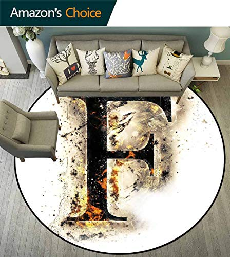 Letter F Round Rug Solid,Burning F Syllable Spoken Symbols of Language in Flames Latin Character No Chemical Odor,Tan Black Orange,D-43