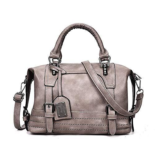 QZTG sac à main Sacs pour Femmes PU Fourre-Tout Zipper Blush Rose Gris Browntote Sacs À Main Classic Grande Capacité Fourre-Tout Cross Body Gris