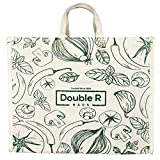DOUBLE R BAGS Waterproof Large Cotton Canvas Shopping Bags Kitchen Essentials with Full Handles (Green; 18inch L x 11inch W x 14.5inch H)