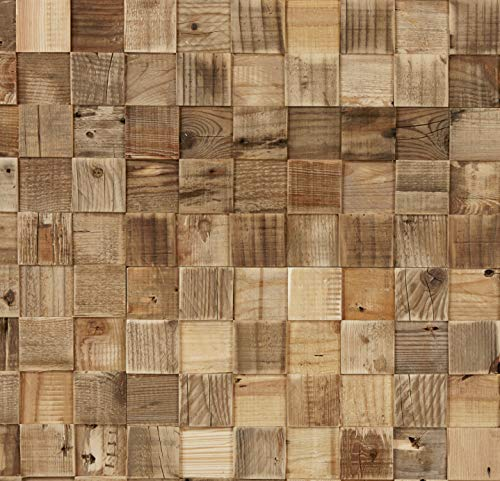 Timberwall - Reclaimed Collection - Cube - DIY Wood Wall Panels - Solid Wood Planks - Nails and Staples Application - 8.2 Sq - Staple Panel