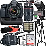 Canon EOS 6D Mark II DSLR Camera w/Canon 24-105mm USM Lens Kit + Pro Photo & Video Accessories Including 128GB Memory, Speedlight TTL Flash, Battery Grip, LED Light, Micorphone, 60