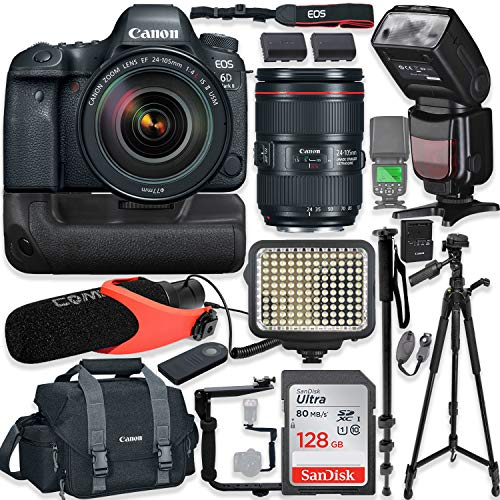 Canon EOS 6D Mark II DSLR Camera w/Canon 24-105mm USM Lens Kit + Pro Photo & Video Accessories Including 128GB Memory, Speedlight TTL Flash, Battery Grip, LED Light, Micorphone, 60″ Tripod & More