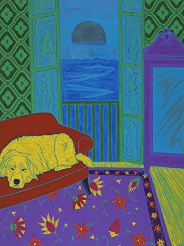 Retriever Print (Sleeping Golden Retriever Art - Matisse Inspired Interior Print MATTED - by Angela Bond)