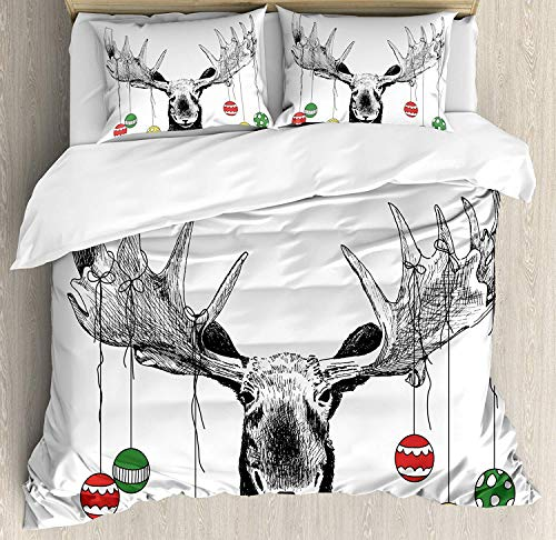 Moose Duvet Cover Set California King Size, 4 Piece Christmas Moose with Xmas Ornaments Balls Hanging from Horns Funny Noel Sketch Art Bedding Set Bedspread for Childrens/Kids/Teens/Adults