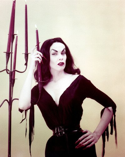 Maila Nurmi Vampira classic goth pose candles Plan 9 from Outer Space 16x20 Poster