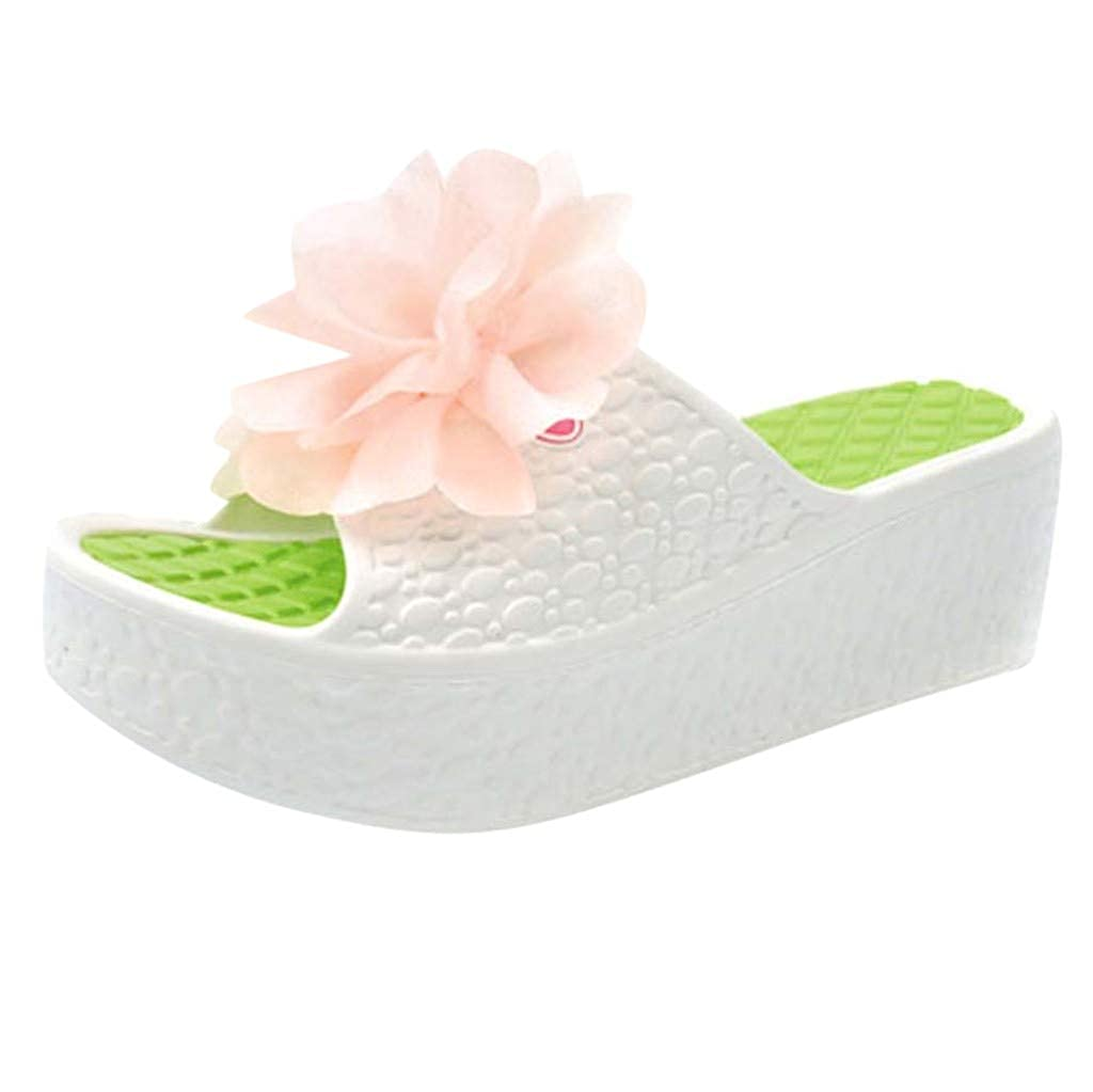 Naladoo Women Beach Slides Slippers with Flower Ornament Summer Thick Sole Shoes