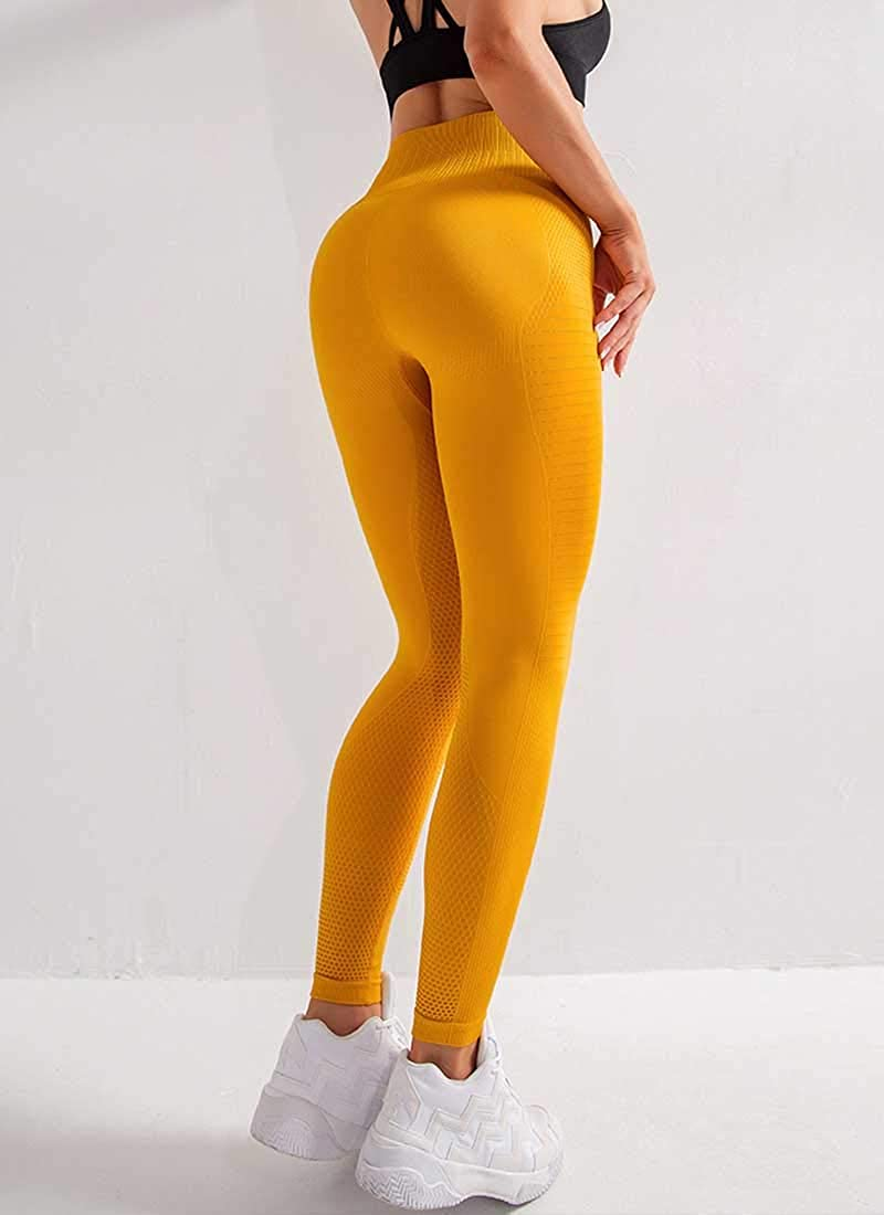 Uniquestyle Leggings de Sport Femme Push Up Taille Haute Anti-Cellulite Compression Pantalon Yoga Coton Slim Pants Noir L