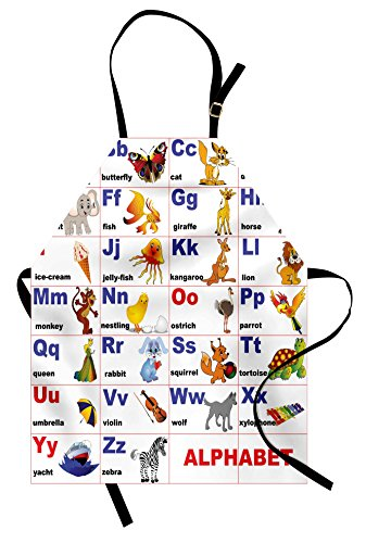 Ambesonne Educational Apron, Animals Placed on Letter of The Alphabet Teacher's Chart Classroom Kindergarten, Unisex Kitchen Bib Apron with Adjustable Neck for Cooking Baking Gardening, Multicolor by Ambesonne