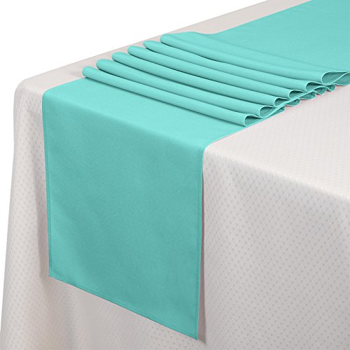 VEEYOO 10 Pieces 14x108 inch Polyester Table Runner for Restaurant Kitchen Dining Wedding Party Banquet Events, - Runner Table Polyester