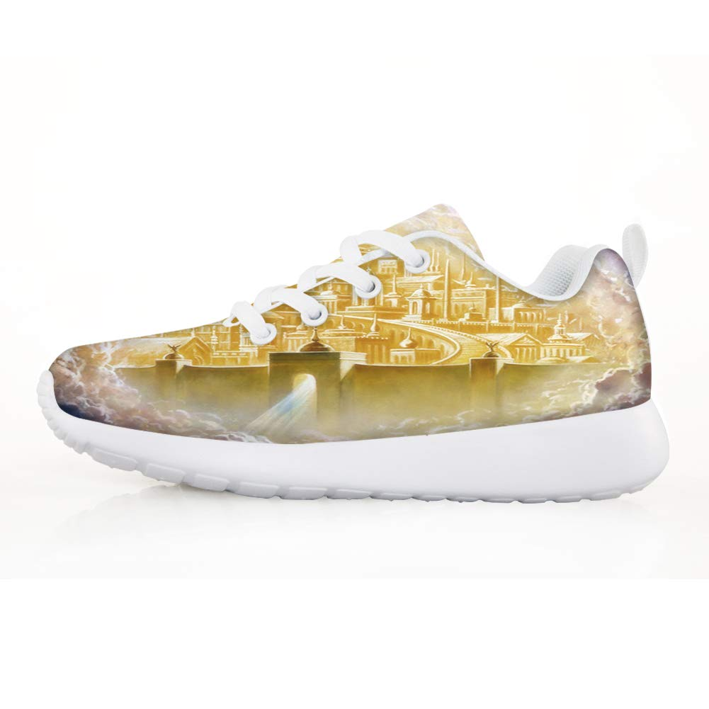 Owaheson Boys Girls Casual Lace-up Sneakers Running Shoes Heaven Gold Holy City Jerusalem