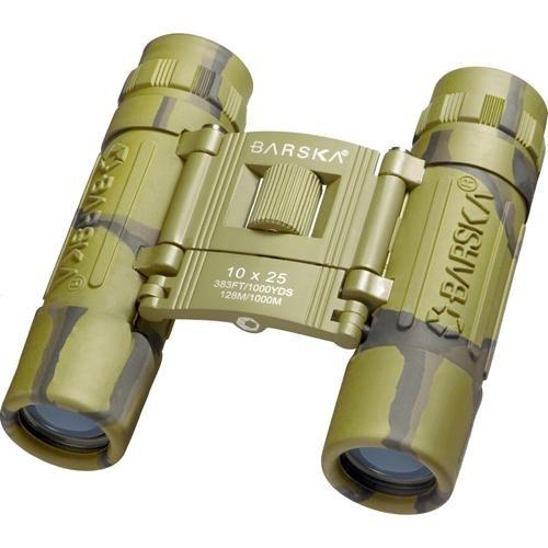 BARSKA Binoculars AB10119 10x25 Lucid View, Camo, Compact, Blue Lens, Clam
