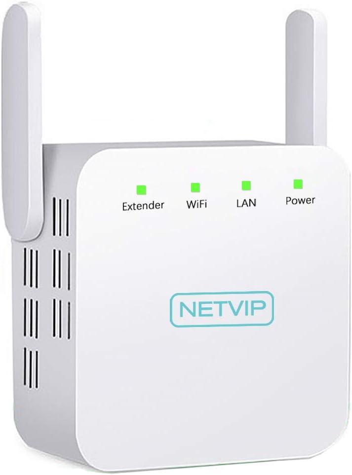 NETVIP Repetidor WiFi de Red Inalámbrico 300Mbps Amplificador Red WiFi Extensor Antena WiFi Ethernet Range Extender senal de WiFi Ultraboost alargador ...