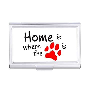 Belissa red paw print quotes business card holder case amazon belissa red paw print quotes business card holder case reheart Gallery