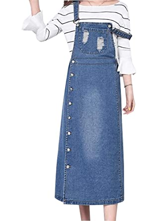 cad5bc56167 Sobrisah Women Girls Maxi Long Suspender Side Split Denim Skirt Overall  Denim Dungarees Dress Pinafore  Amazon.co.uk  Clothing