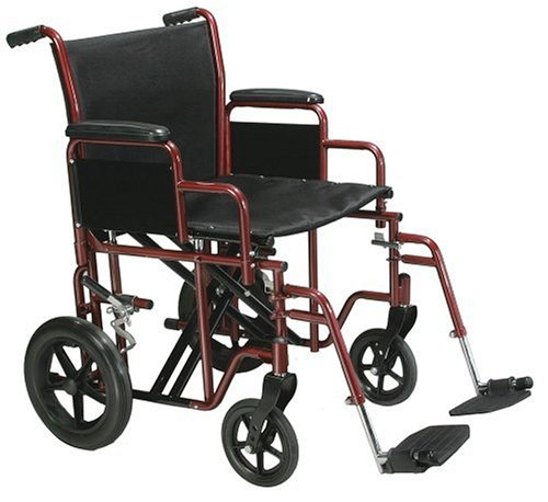 - Drive Medical TR20-R Heavy Duty Transport Chair, 20 Inch, Red/Black