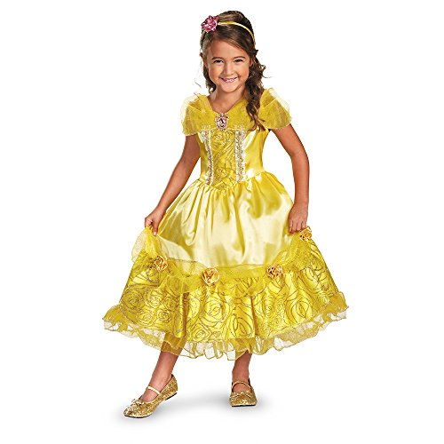 [Disguise Disney's Beauty and The Beast Belle Sparkle Deluxe Girls Costume, 3T-4T] (Beauty And The Beast Costume Belle)
