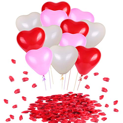 Valentine Day Decoration, Konsait Hearts Shape Balloons(60pcs) Red Petals(1000pcs) Funny Valentine Accessories for Valentine's Day Decor,Anniversaries,Wedding Backdrop Bridal Shower Party - Heart Shaped Petals