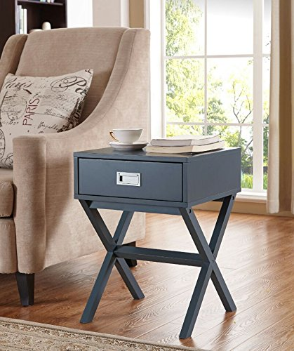 Modern X-Shape Accent Side End Table Nightstand with Drawer