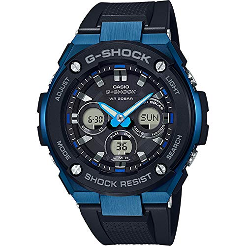 Used, Men's Casio G-Shock G-Steel Black and Blue Solar Resin for sale  Delivered anywhere in USA