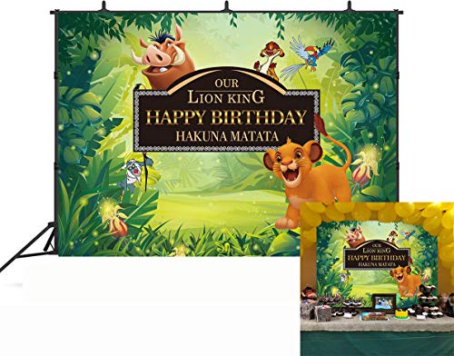 GYA Baby Simba Lion King Backdrop Background Kids Childrens Boys Birthday Party Photography Photo Vinyl Decoration - Banner Lions