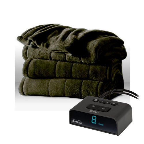 Sunbeam Channeled Microplush Heated Electric Blanket Full Ivy - With Green Ivy