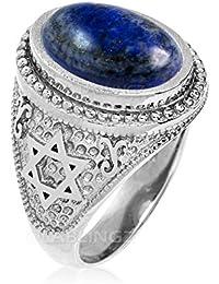 Sterling Silver Star of David Lapis Lazuli Jewish Statement Ring
