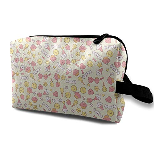 Baby Cute Food Cookies Flower Yellow Multi-function Travel Makeup Toiletry Coin Bag Case
