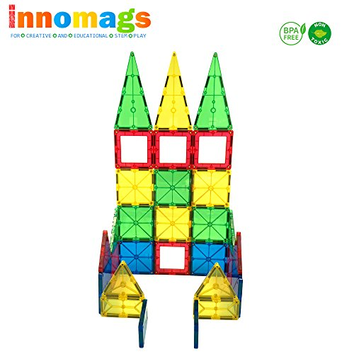 Innomags Magnet Tiles 64 Piece Magnetic Building Blocks Tile Set, Clear 3D Magnetic Tiles Stem Toy Educational Construction Playboards for Kids, Creative Clickins, Fences, Wheel, Bag, Safety Certified