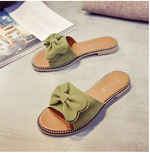 antiscivolo Sandali artificiale di casa arco donne indoor PU 38EU da donna Color Green stili Gray pantofole outsourcing Dimensione pantofole delle 3 estate e teste pavimento autunno xYxrwaF
