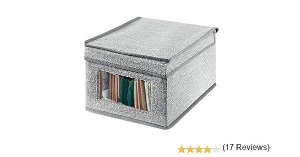 mDesign Caja de almacenamiento – Organizador apilable pequeño y de fibra sintética con tapa y ventana de visualización – Cajas para ropa rectangulares para el dormitorio – gris: Amazon.es: Hogar